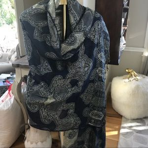 Accessories - Navy / silver threaded Wrap shawl